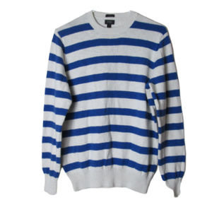 J. Crew blue white striped cotton sweater medium